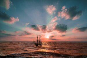 boat, sea, waves